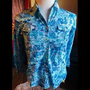 Lilly Pulitzer Button Shirt Beach Seafood Print